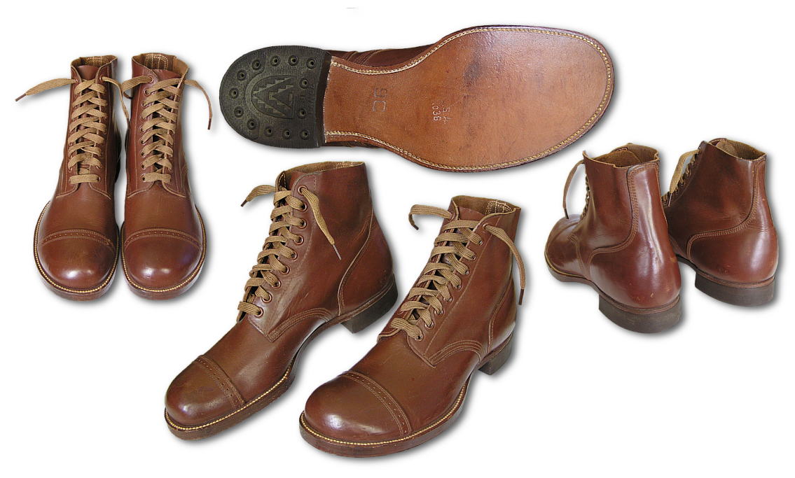 Top, side, bottom, and back views of the Type I service shoe, specification QMC 9-6F.