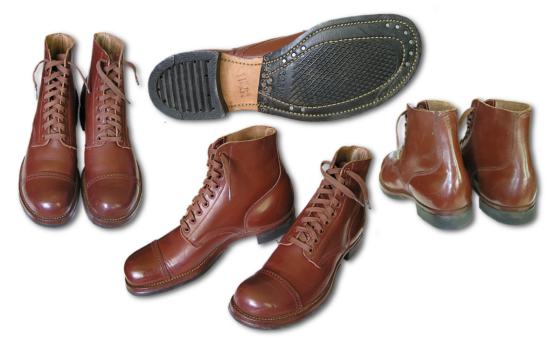 Top, side, bottom, and back views of the Type II service shoe, specification QMC 9-6F.