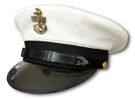 0ea9073b874338 Chief petty officer's service cap with white cover. U.S. Navy officer's  service cap with khaki cotton cover.