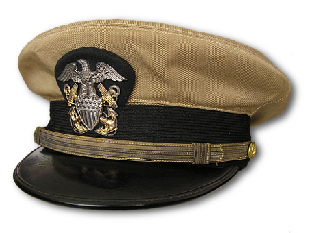 0ebb237f139 U.S. Navy officer s service cap with khaki cotton cover.