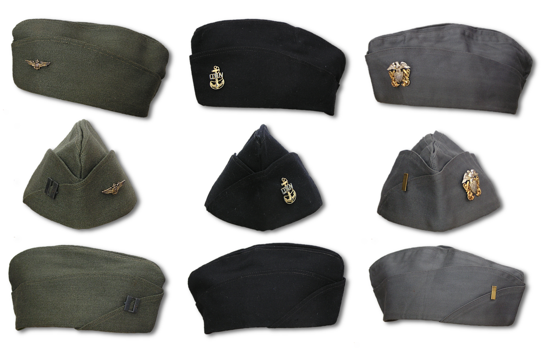 0d6f7cd5d24106 U.S. Navy Men's Caps. Garrison Cap. Side and front views of aviation  pilot's, chief petty officer's, and commissioned officer's garrison